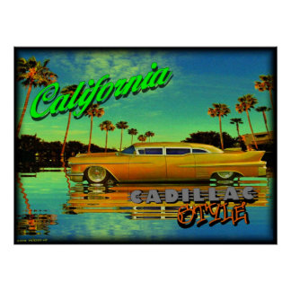 california cadillac style poster
