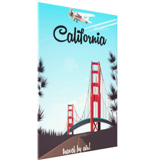 California Cartoon travel poster Canvas Print
