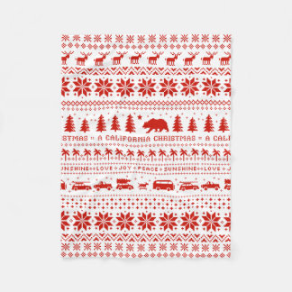 California Christmas Holiday Pattern Red on White Fleece Blanket