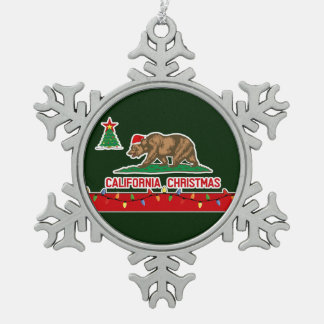 California Christmas Pewter Snowflake Ornament