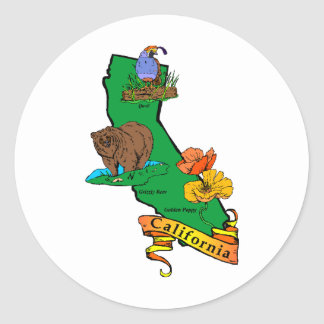 California Classic Round Sticker