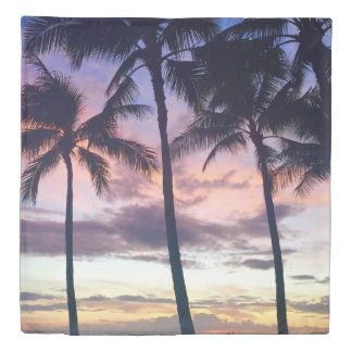California Dreaming Palm Trees Beach Sunset Duvet
