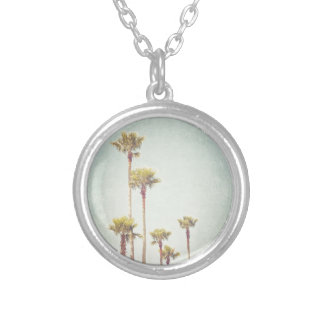 California Dreaming Retro Palm Tree Photography Silver Plated Necklace