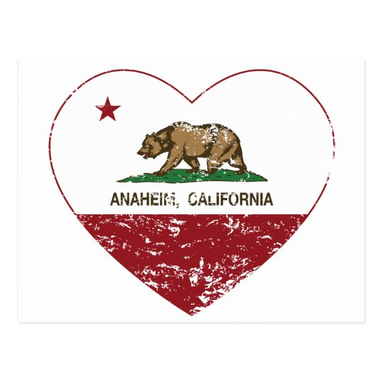 california flag anaheim heart distressed postcard