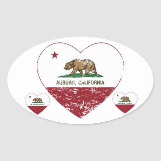 california flag auburn heart distressed oval sticker