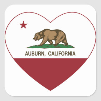 california flag auburn heart square sticker