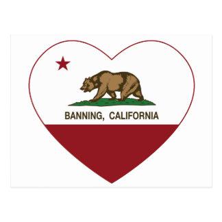 california flag banning heart postcard