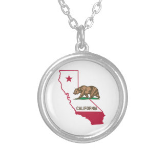 California Flag Bear Silver Plated Necklace