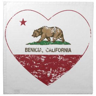 california flag benecia heart distressed napkin