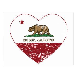 california flag big sur heart distressed postcards