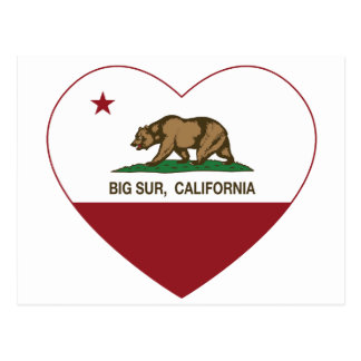 california flag big sur heart post cards