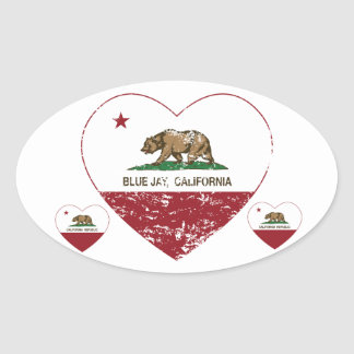 california flag blue jay heart distressed oval sticker