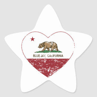 california flag blue jay heart distressed star sticker