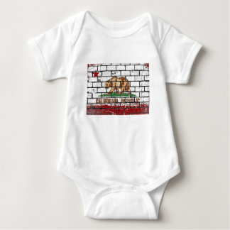 California Flag Brick Wall Grunge Baby Bodysuit