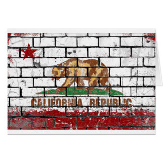 California Flag Brick Wall Grunge Card