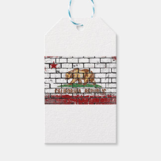 California Flag Brick Wall Grunge Gift Tags