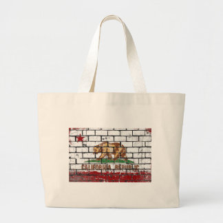 California Flag Brick Wall Grunge Large Tote Bag