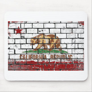 California Flag Brick Wall Grunge Mouse Pad