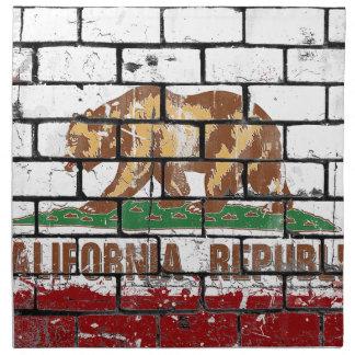 California Flag Brick Wall Grunge Napkin