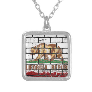 California Flag Brick Wall Grunge Silver Plated Necklace