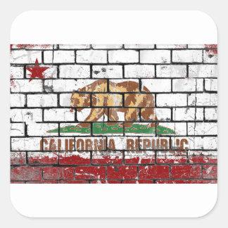 California Flag Brick Wall Grunge Square Sticker