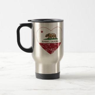california flag burbank heart distressed travel mug
