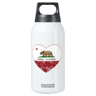 california flag carmel heart distressed insulated water bottle