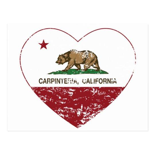 california flag carpinteria heart distressed postcard