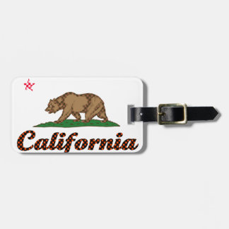 California Flag Checkered-Out Luggage Tag