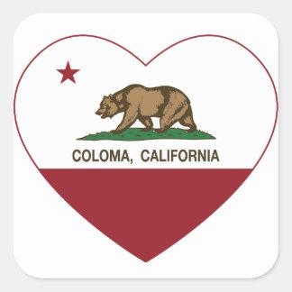 california flag coloma heart square sticker