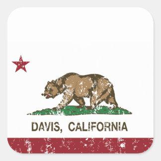 california flag davis distressed square sticker