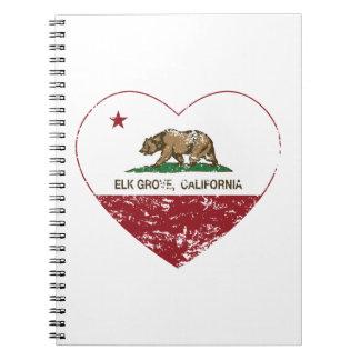 california flag elk grove heart heart distressed note book