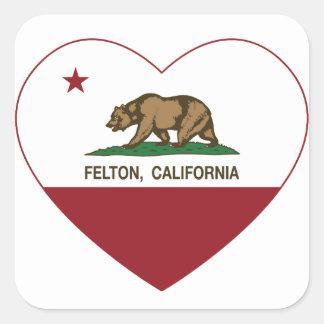 california flag felton heart square sticker