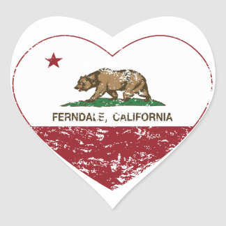 california flag ferndale heart distressed heart sticker