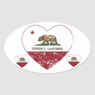 california flag ferndale heart distressed oval sticker