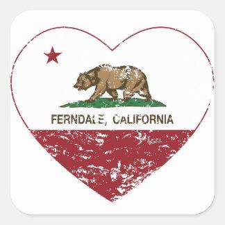 california flag ferndale heart distressed square sticker