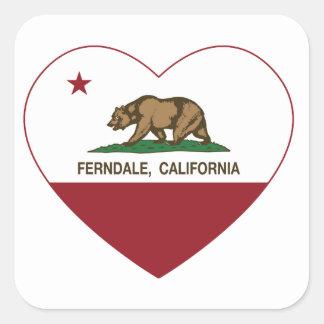 california flag ferndale heart square sticker