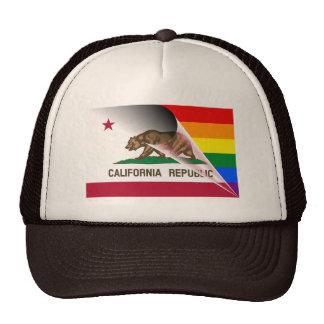 California Flag Gay Pride Rainbow Trucker Hat