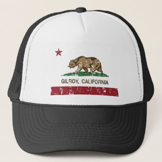 california flag gilroy distressed trucker hat