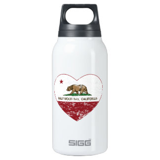 california flag half moon bay heart distressed insulated water bottle