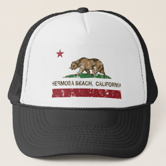california flag hermosa beach distressed trucker hat