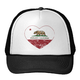 california flag highland heart distressed trucker hat