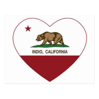 california flag indio heart postcard