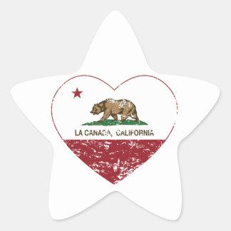 california flag la canada heart distressed star sticker