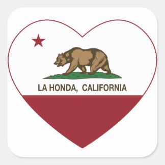california flag la honda heart square sticker