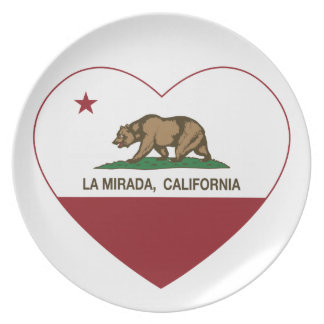 california flag la mirada heart dinner plates