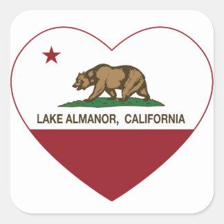 california flag lake almanor heart square sticker