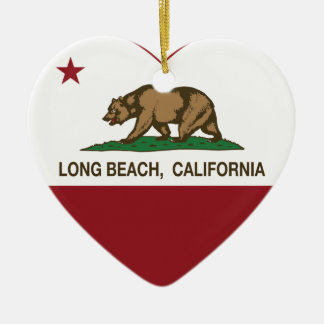 california flag long beach heart ceramic ornament