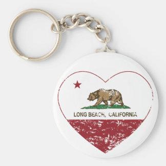 california flag long beach heart distressed keychain