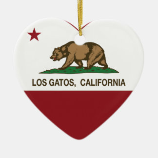 california flag los gatos heart ceramic ornament